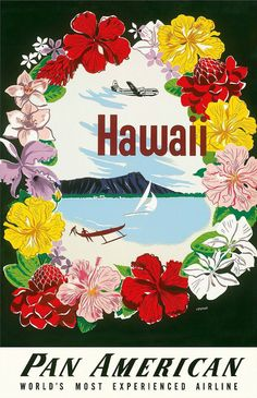 3f7ba869e4ce Hawaii - Flower Lei and Diamond Head Crater - Pan American World Airways  Prints by A