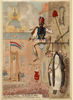 Zenith of French Glory: The Pinnacle of Liberty. Religion, Justice, Loyalty & all the Bugbears of Unenlightend Minds, Farewell! A satire of the radicalism of the French Revolution. A picture by James Gillray. James Gillray, Liberty, National Portrait Gallery, French Revolution, British Museum, Ancient Art, Hand Coloring, Printmaking, Artists