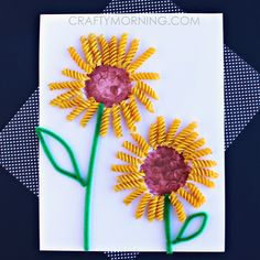 Make a noodle sunflower craft with your kids. It's a fun spring or summer art project.