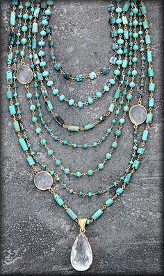 Safia Day 7 Strand Turquoise Necklace with Crystals