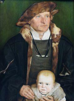 Barthel Beham //  Portrait of Hans Urmiller with his son 1525 -