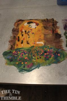 """A """"painting with wool"""" piece by a student in a workshop with Tetyana Tverdenko at The Tin Thimble"""