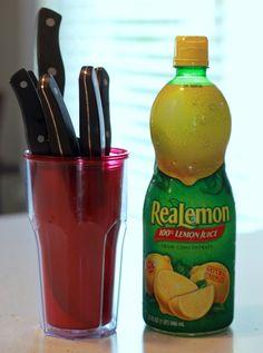 use lemon juice to clean rust spots on knives