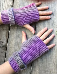 Free Knitting Pattern for Easy Garter Stitch Fingerless Mitts With Strap - Pluviôse is an easy fingerless mitt pattern knit flat in garter stitch on straight n Easy Knitting Patterns, Loom Knitting, Knitting Stitches, Free Knitting, Easy Patterns, Knitting Ideas, Knitting Needles, Dress Patterns, Fingerless Gloves Knitted