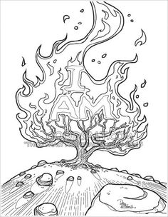 Pictures of the burning bush - 31 images Christian Drawings, Christian Art, Doodle Coloring, Colouring Pages, Bush Drawing, Exodus Bible, Tattoo Arm Designs, Bible Pictures, Biblical Art