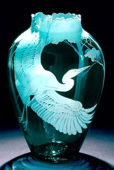 Egret in Flight art glass by Cynthia Myers