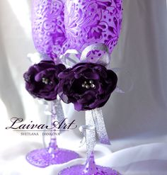 Wedding | Champagne Flutes | Purple & Silver | Lavender | Eggplant | Wedding  - pinned by pin4etsy.com