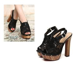 Stylish Lace Mesh Peer Toe Buckled Belt Slingback Sky High Thick Heel Sandals 2 Colors