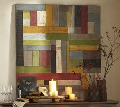 Planks of hand-painted wood form a richly weathered patchwork, and blend the warmth of folk art with the energy of an abstract painting. Because we have received such a positive response from our customers, we are again offering this colorful work for your home.