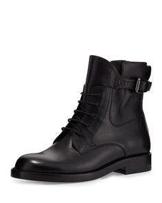 Lanvin Leather Buckle-Strap Combat Bootie, Black