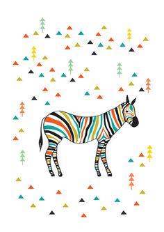 Colorful Zebra in the jungle Poster / Illustration by dekanimal,