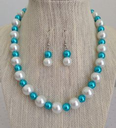 Chunky Pearl Necklace, Turquoise Necklace, Turquoise Wedding, Bridesmaid Gift, Light Blue Wedding, Bridesmaid Necklace #Turquoise #Wedding
