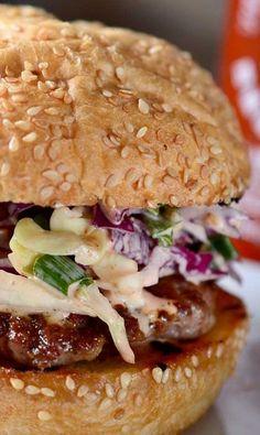 Garlic-Black Pepper Pork burgers with Sriracha Slaw