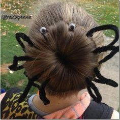 Fun and easy spider bun hairstyle! This is adorable for Halloween Spirit Day Ideas, Bun Hairstyles, Halloween Hairstyles, Christian Wife, Cute Cuts, Halloween Spider, Creative Hairstyles, Cut And Style, Gatos