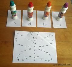 Using bingo makers to create dots on numbers on a butterfly outline. Plus, more activities (science and literacy) to connect with butterfly book. Montessori Math, Preschool Math, Math Classroom, Kindergarten Math, Teaching Math, Teaching Ideas, Math Resources, Learning Activities, Activities For Kids
