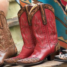 Tooled leather custom cowboy boots from Back At The Ranch, Santa Fe, NM