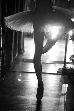 Charming Ballet Pose in Black and White.