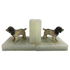 English Stone Dog Bookends