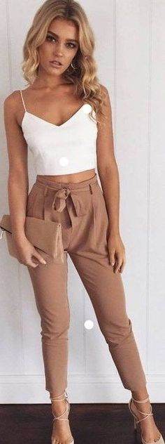 Cute outfit, casual outfit: white crop and camel pants. This 2 pieces set outfit, spaghetti strap crop top, zipper backless, casual long pants, slim fit style, is perfect for every occasion: casual, clubwear and daily wear. Sold by Amazon.