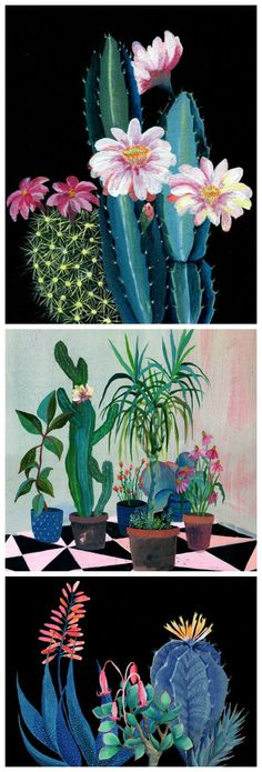 Colorful Giclee art prints made from original paintings. Prints feature potted flowers, succulents, cacti and leafy tree saplings <3