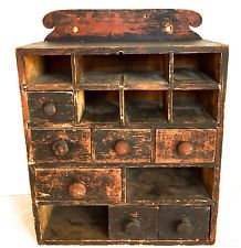 AAFA Spice Box Antique Hanging Primitive Dovetailed Cabinet Drawers Wisconsin