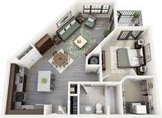 50 plans en 3d d appartement avec 1 chambres salons for Plan appartement 1 chambre