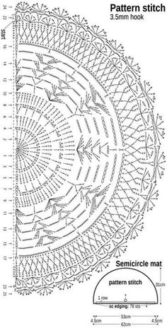 Crochet Doily Diagram, Crochet Rug Patterns, Doily Patterns, Filet Crochet, Crochet Motif, Crochet Doilies, Knitting Patterns, Crochet Carpet, Crochet Home