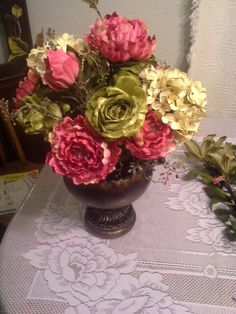 Peonies and chartreuse roses
