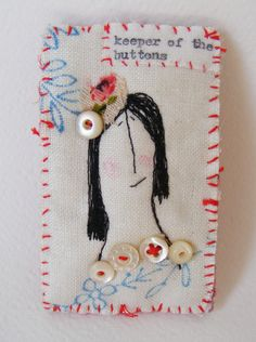 Handmade textile machine embroidered BROOCH ... Keeper of the Buttons