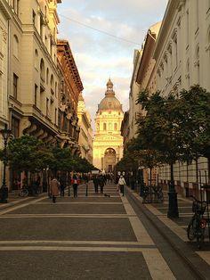 The golden hues of an autumn sunset illuminate Saint Istvan's Basilica in Budapest, Hungary.