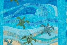 Baby Sea Turtle Quilt Detail Sea Turtle Quilts, Baby Turtles, Sea Turtles, Ocean Room, Baby Quilts, Quilt Patterns, Art Quilting, Quilting Ideas, Diy Crafts