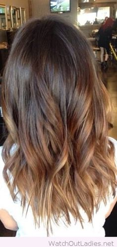 Balayage On Dark Brown Hair: Shoulder Length