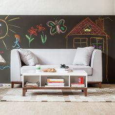Sofa Blomma (3-Sitzer) - Webstoff Grau - Gestell: Nussbaumfarbig