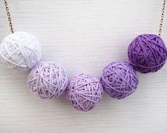 Kitten Necklace. Purple Ombre Cotton Ball Necklace por KapKaDesign