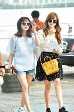 Girls' Generation Tiffany & Sunny, Airport Fashion http://www.kpopstarz.com/articles/102881/20140808/girls-generation-tiffany-sunny-airport-fashion.htm