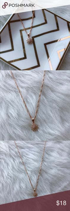 Rose gold star necklace Cute tiny rose gold paved starburst sun charm on a 14k rose gold plated necklace Jewelry Necklaces