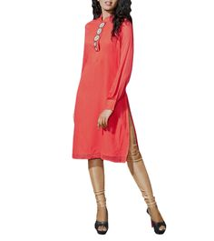 Coral Georgette Pearl Work Hand Embroidered Kurti