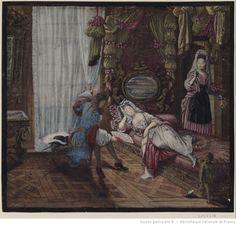"""""""Femme de qualité en deshabillé reposant sur un lit d'Ange"""" : [estampe] / [Nicolas Bazin] ; peint par J. D. De. S.t Jean  Auteur :  Bazin, Nicolas (1633-1710). Graveur présumé  Auteur :  Saint-Jean, Jean Dieu de (1655?-1695). Dessinateur du modèle  Date d'édition :  1686"""