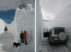 My photos, my husband, my kids, dog and car!.. My husband has been working these past days blowing snow and opening the road to a very isolated part of the Eastern Fjords, Mjóifjordur or Narrow fjord.. :P  It is indeed long and narrow. As you can see the snowbanks are huge! And so i took the kids for a drive, got lots of photos and sent it to the newspaper and it got some great coverage.. It is unique however, and it certainly not an annual thing.. :)
