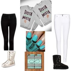 Designer Clothes, Shoes & Bags for Women Twin Outfits, Matching Outfits, Outfits For Teens, Cool Outfits, College Outfits, Best Friend Match, Best Friend Goals, Bff Goals, Best Friend Outfits