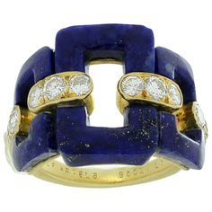 1960s Van Cleef & Arpels Lapis Lazuli Diamond Gold Ring | See more rare vintage More Rings at https://www.1stdibs.com/jewelry/rings/more-rings