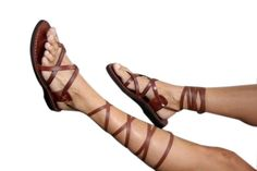 Brown Gladiator Leather Sandals Triple Design by SANDALI on Etsy