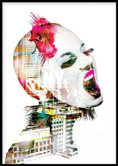 Art poster with attitude. Girl with pink flowers in her hair and New York print. This poster looks good with other art prints that you can find in our webshop. Desenio.co.uk