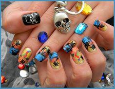 Nail art pirate a la peinture acrylique
