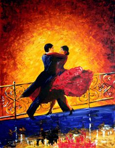 Original Abstract Painting 35 x 28 Tango Dancers - Large Size Canvas Acrylic Contemporary Palette Knife - A Couple Dancing On The Terrace