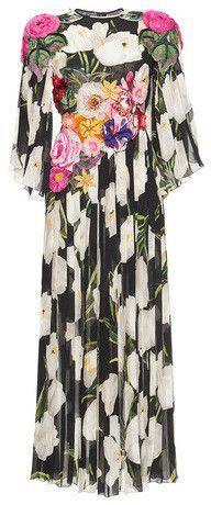 Floral Tulip Print Embellished Georgette Dress