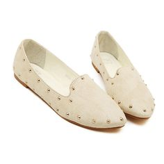 SheIn(sheinside) Beige Point Toe Rivet Flats (36 CAD) ❤ liked on Polyvore featuring shoes, flats, flat shoes, pointed toe shoes, pointy toe shoes, vegan flats und flat heel shoes