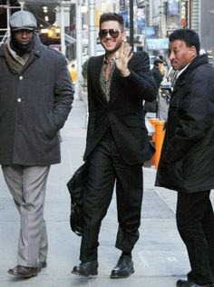 Adam Lambert arriving at Good Morning America to announce summer tour with Queen