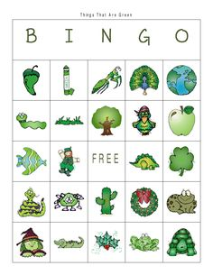 First Grade a la Carte: Things That are Green bingo
