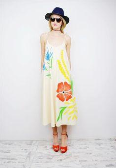 Vintage 70's boho smock dress r1d015